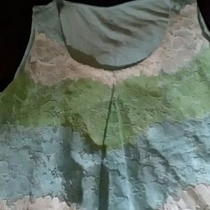 NWOT Blue, Green and Cream , lace top